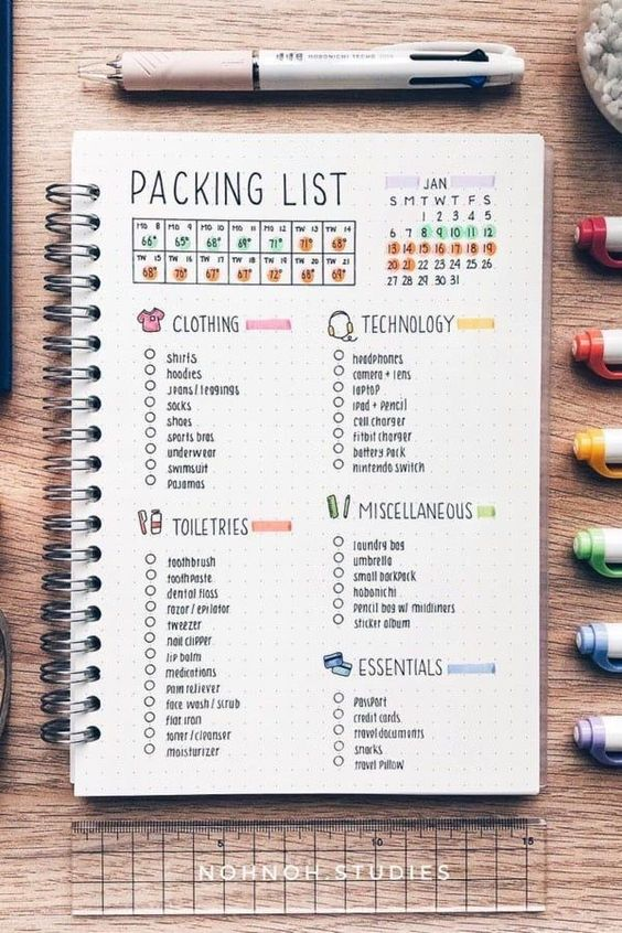 bullet journal packing list