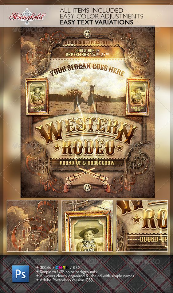 Wild West Rodeo Event Flyer Template Flyer Template
