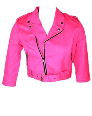 Hot Pink Crop MC Jacket