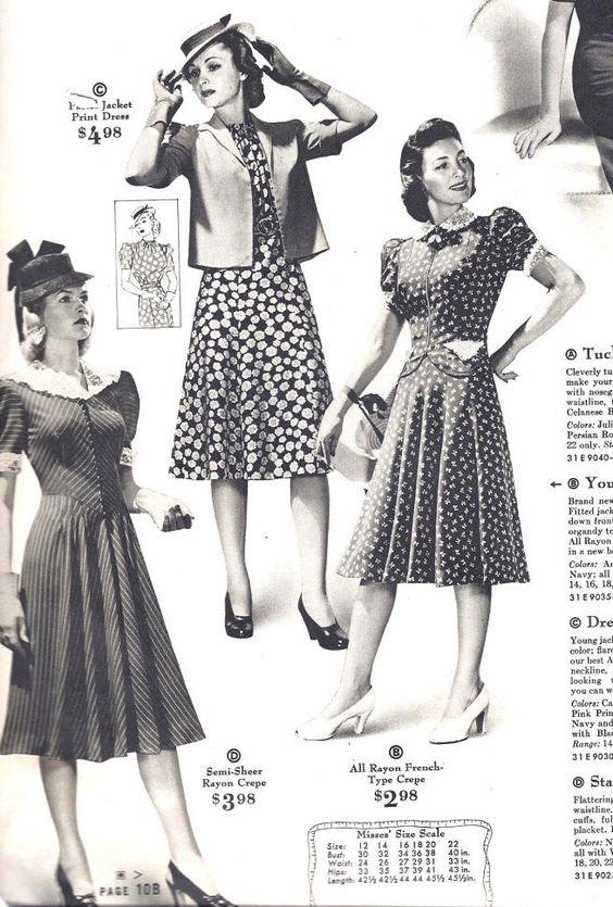 1940s Fashion Women   Women's Fashions from Sears Catalog, 1940