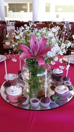 Base de espejo y pecera con flores cakepops cupcakes for Bases para mesas de centro