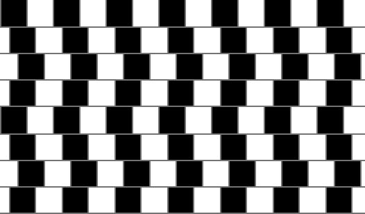 Are the horizontal lines straight or tilted? Hold a ruler or piece of paper up to them to see if you don't believe they are straight...