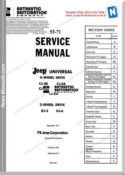 Jeep Cj Dj 53 71 Service Manual Jeep Cj Jeep Manual