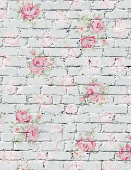 Flower Printed On White Brick Wall Photography Backdrop Vinyl Wall Flowers Wall Backdrops Brick Backdrops