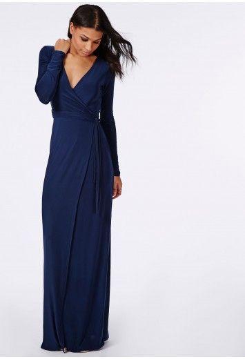 Navy Blue Maxi Dress Long Sleeves Pockets - Sleeve- Niqab and Maxi ...