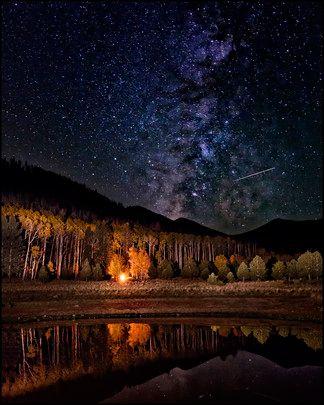 The night sky, including a meteor, at Locket Meadow, Flagstaff, Arizona