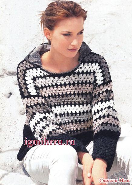 Теплый пуловер крючком
