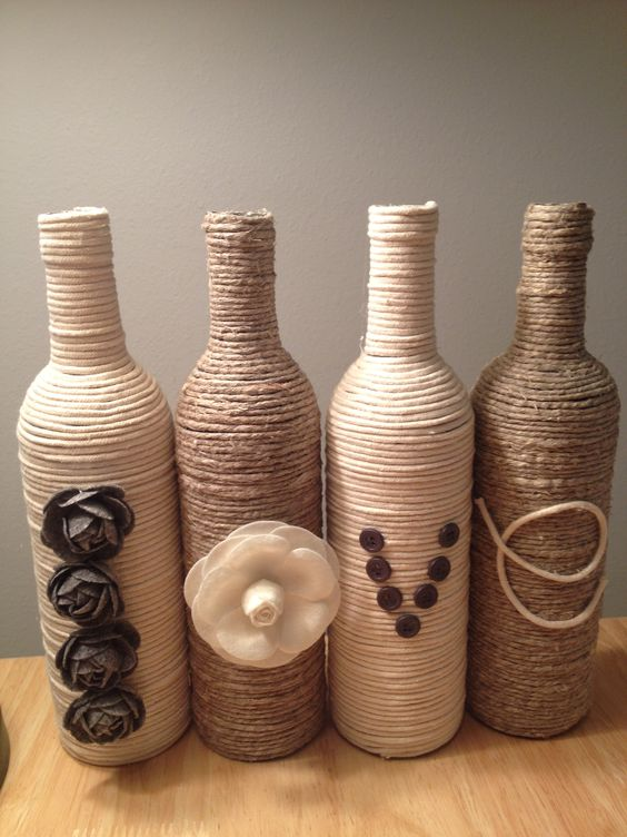 Cute and easy craft for recycling your used wine bottles for Cute wine bottles