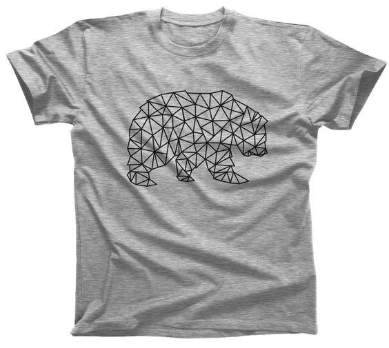 Men's Geometric Bear T-Shirt Triangles