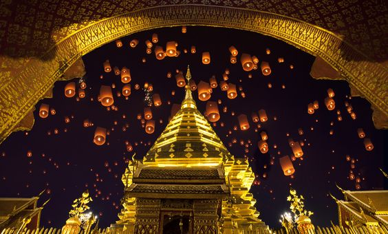 Doi suthep, golden pagoda and yeepeng in new year celebration festival.