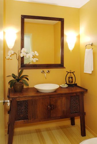 Use An Indonesian Teak Console Cabinet To Create A Unique Vanity Check Out Our Indonesian