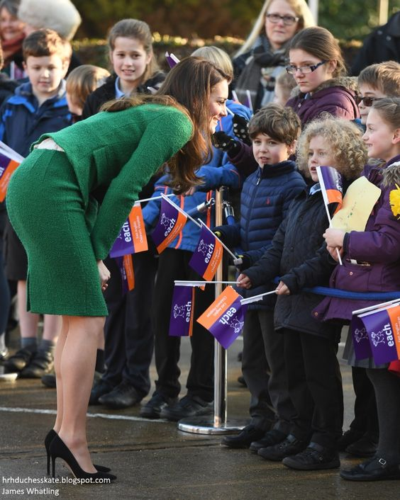 hrhduchesskate: Visit to EACH (East Anglia Children's Hospice), Norfolk, January 24, 2017-The Duchess of Cambridge spoke with schoolchildren: