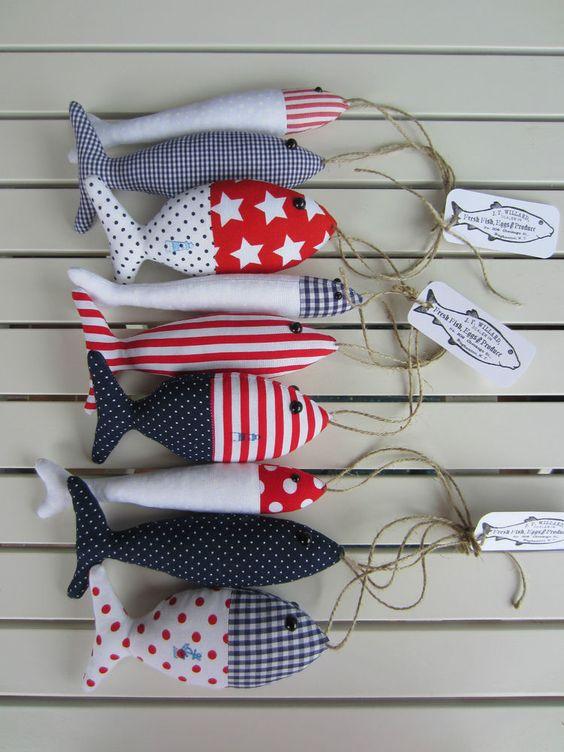 Fische maritim 3-tlg. aus Stoff rot/blau/weiß zu Landhaus,Meer,Urlaub,See