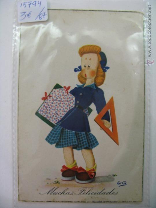 POSTAL DE FELICIDADES ANTIGUA AÑO 1953 (Postales - Niños)