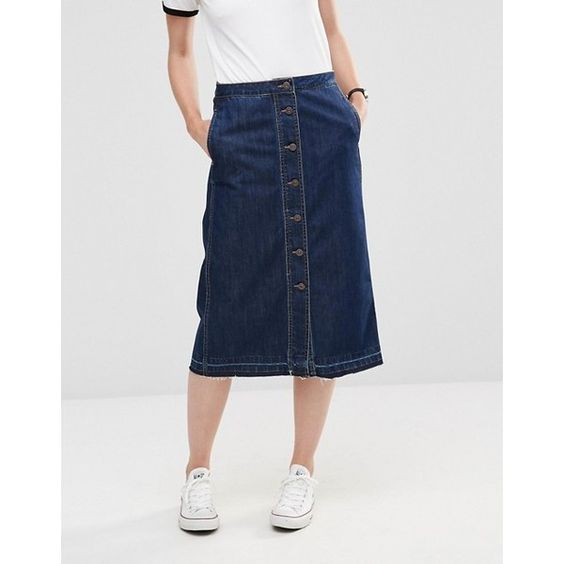 Only Button Through Midi A-line Denim Skirt (20 CAD) ❤ liked on ...