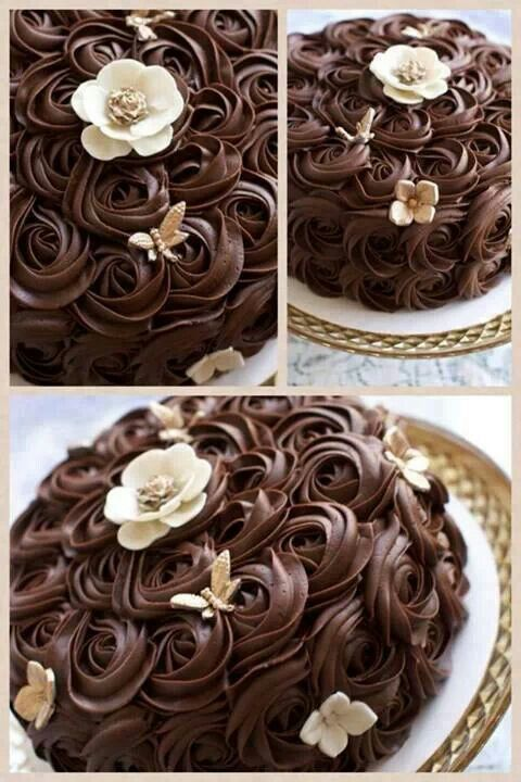 Cake Decorating Ideas With Ganache : Beautiful ganache rosettes. I really love this way of decorating a cake!!!