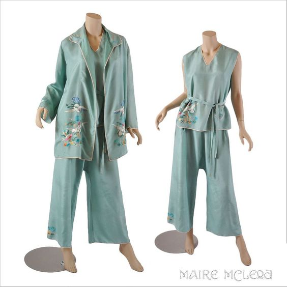 1920's Lounge Wear // Vintage Chinese Embroidered 20s Silk 3 pc ...