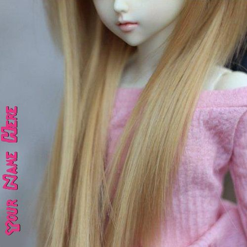 Get your name in beautiful style on Long Hair Doll picture