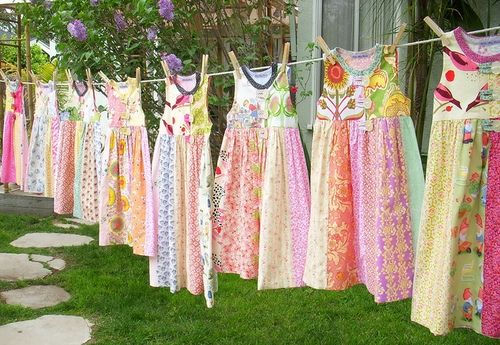 Colourful vintage patchwork dresses on the line!