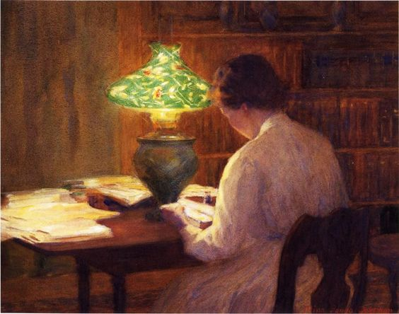 The Evening Lamp (c.1912). Mina Fonda Ochtman (American, 1862-1924). Watercolor on paper. Bruce Museum, Greenwich, Connecticut. Ochtman moved to New York in 1896 to attend the Art Students League. She married Leonard Ochtman in 1891 and they moved to a large property in Greenwich, CT. They remained there most of their lives and were among the founders of the Greenwich Society of Artists.