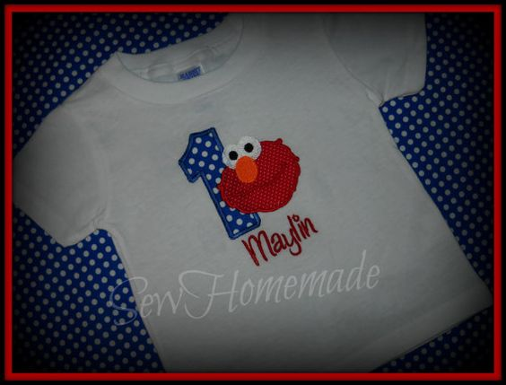 ELMO BIRTHDAY SHIRT or Onesie Personalized  by soohomemade on Etsy, $12.00