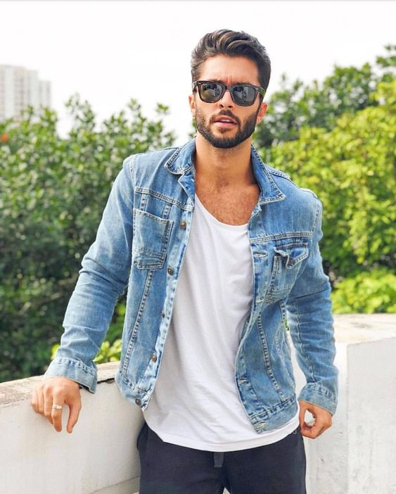 Classic white shirt and denim jacket look! Great transition outfit #denimjacket #menstyle