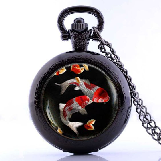 koi fish pendant pocket watch vintage koi fish jewelry