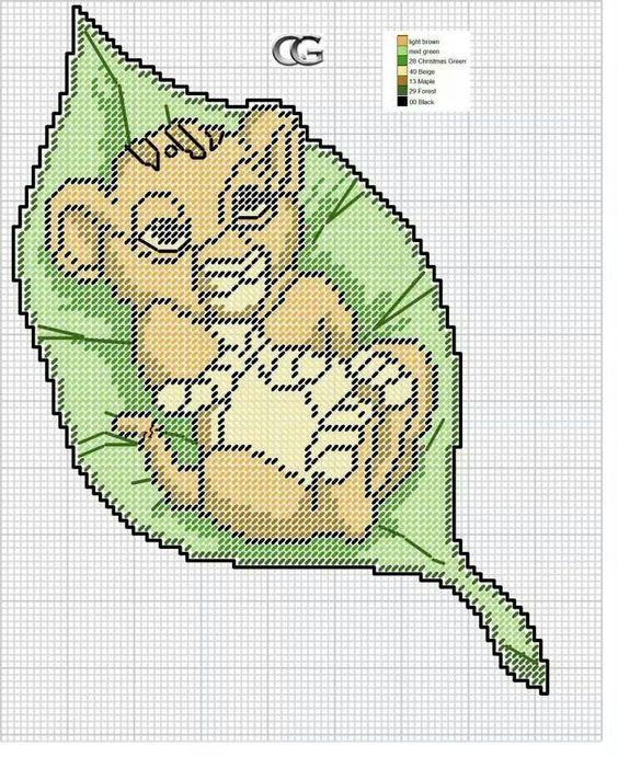 BABY SIMBA IN A LEAF by CG -- LION KING WALL HANGING
