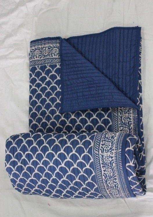"Hand Block Shibori Print Cotton Indigo Blue Kantha Quilt Jaipuri Razai 90x108/"""