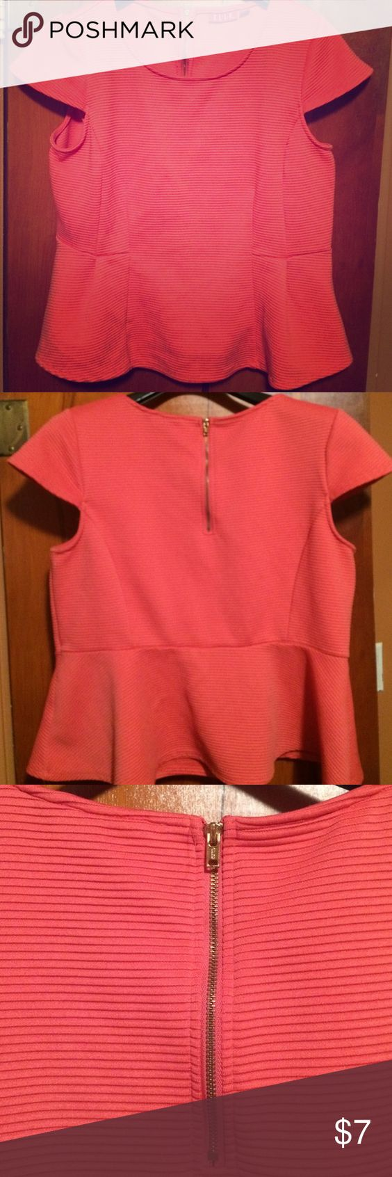 Coral peplum shirt with stretch Soft ribbed coral peplum shirt with gold half zippered back. Comfortable with some stretch. Elle Tops Blouses