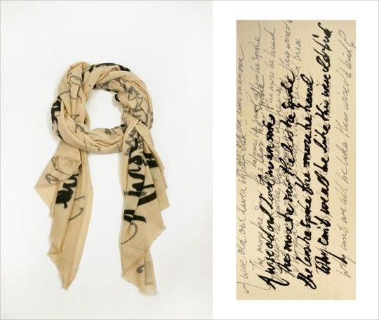 """Love this idea!: """"DIY script scarf with verse, poem, quotation, or anything you want to say. No one else will be able to read it, but you will know what it says as you are wearing it."""""""