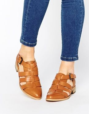 Park Lane Strappy T Bar Leather Flat Shoes