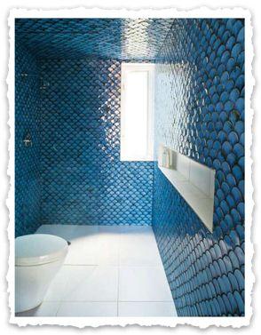 Dwell magazine fishtail tiles bathroom pinterest for Dwell bathroom designs