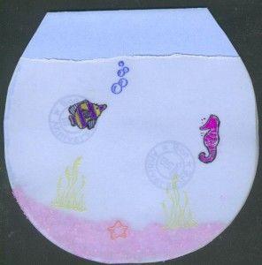 Carte d anniversaire en forme de bocal d aquarium pour for Bocal en verre pour poisson rouge