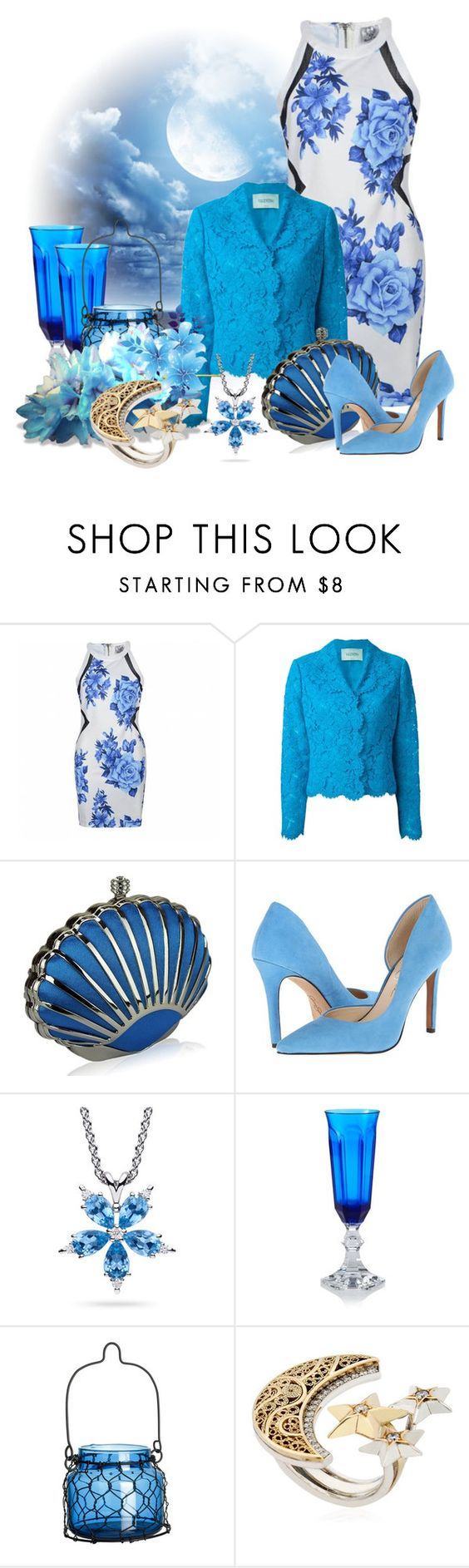 """""""Clear Night Sky"""" by leptismagna ❤ liked on Polyvore featuring Ally Fashion, Valentino, Jessica Simpson, Paul Morelli, Mario Luca Giusti, H&M, AZZA FAHMY, SkyBlue, lace and Night"""