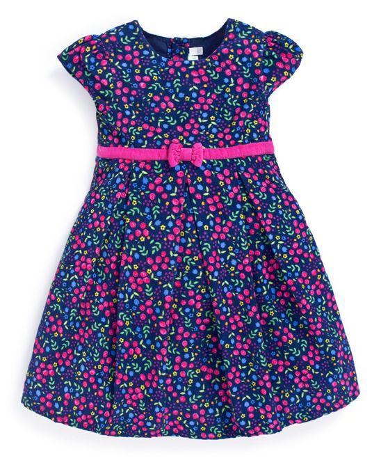 Королевский Синий Цветочный Вельвет Платье - Младенцев, Малышей И Девочек