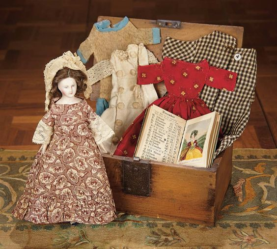 """For the Love of the Ladies"" - October 1-2, 2016 in Phoenix, AZ: 433 Early French Paper Mache Doll with Costumes"
