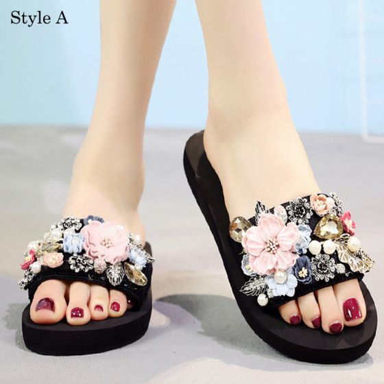 Modern Fashion Black Summer Casual Slipper Flip Flops 2018 Appliques Crystal Pearl 5 Cm Platform Wedges Open Peep Toe Womens Shoes In 2020 Casual Slippers Casual Summer Slippers Fashion Slippers