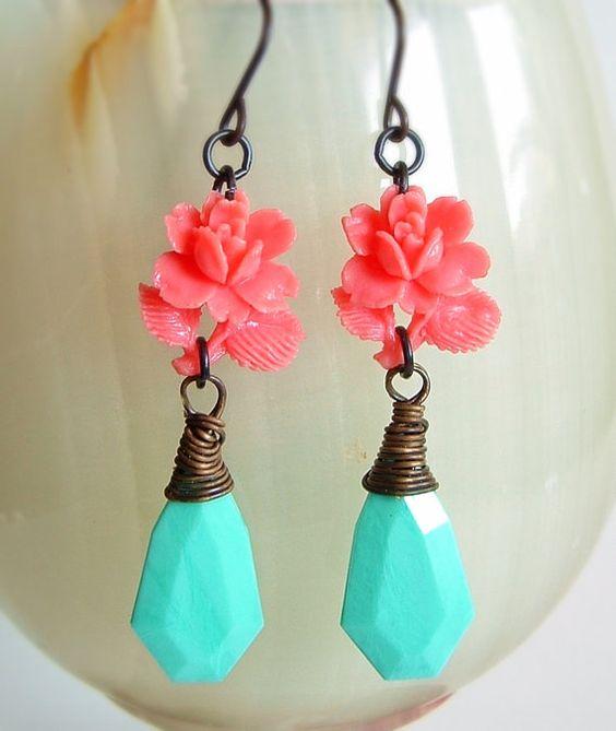 Pink Aqua Rose Earrings Vintage Carved Plastic Flower by skeptis, $18.00