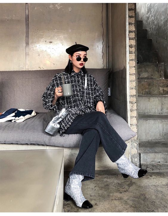 FF STUDIO定制 牛仔阔腿裤女冬2017新款设计感宽松加厚直筒裤子-淘宝网