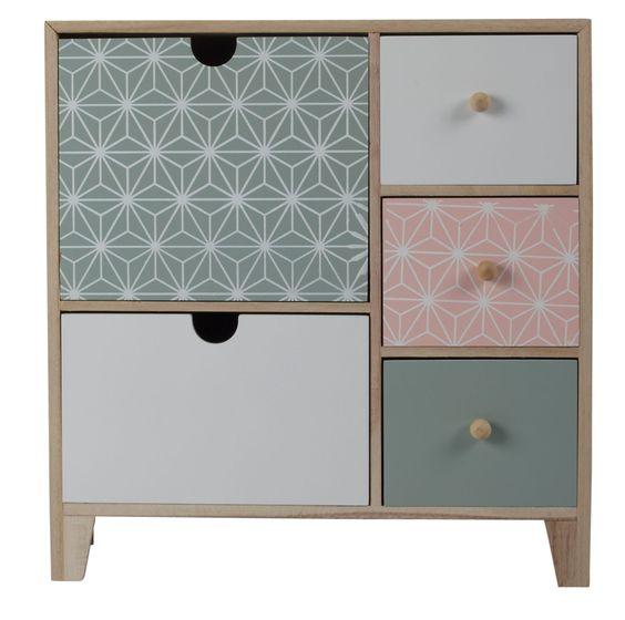 Meuble En Bois De Rose : Commode AGATHE, petit meuble de rangement bois, rose, blanc et vert d