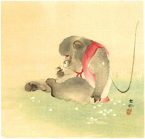 Ohara Koson: Monkey and Bee - 1900-10