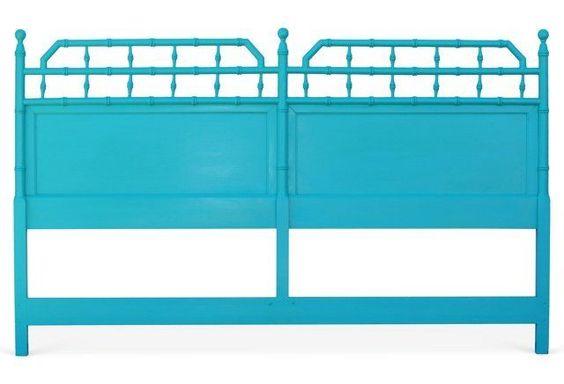 Turquoise Bamboo Headboard: