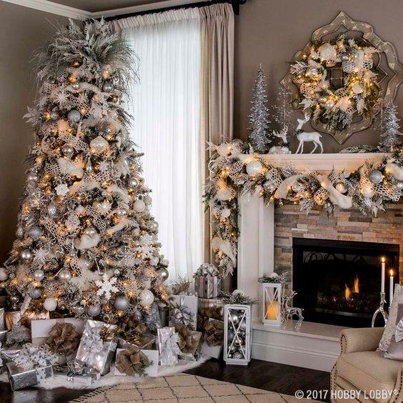 40 Christmas Tree Decor Ideas Wonder Cottagefacebooktwitterpinterestflipboardmixfac White Christmas Decor Rose Gold Christmas Decorations Christmas Fireplace