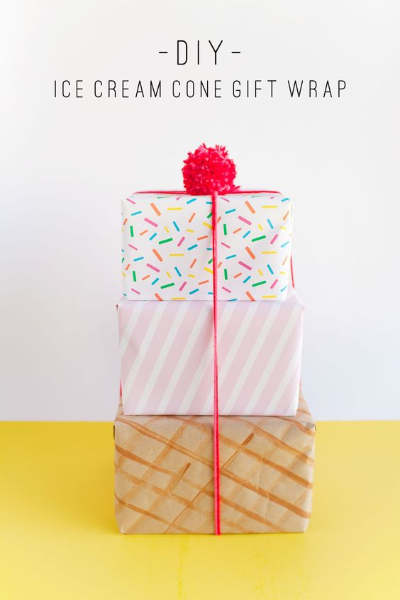 make this fun ice cream cone gift wrap! Because presents are always cuter when they look like a delicious treat.