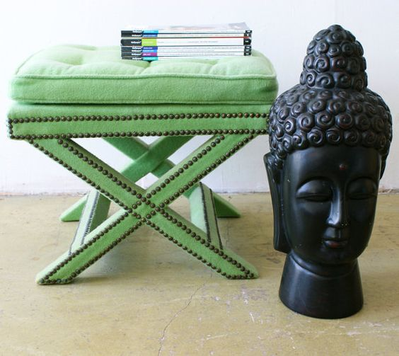 Retro regency style stool.  Love the color.  Useful as a stool or better yet pile your favorite books and set it by your favorited chair.
