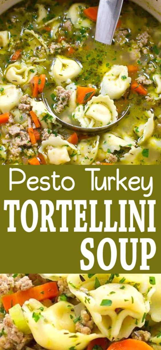 Pesto Turkey Tortellini Soup