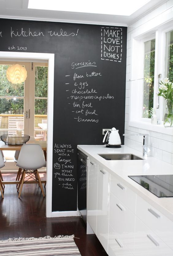 Galley kitchen by Nicola Blackmore  love the 'make love not dishes!!!'