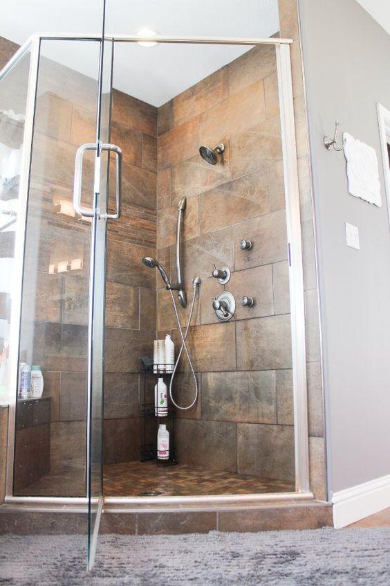 Custom tile shower master bathroom via houseofroseblog for Master bathroom tile ideas