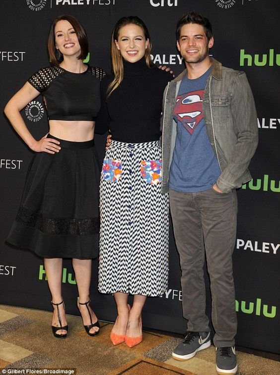 Superman:Benoist - who posed with co-stars Chyler Leigh and Jeremy Jordan - is next sched...